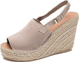 U-lite Women's Ladies Fashion Casual Peep Toe Espadrille Wedges Sandals Ankle Buckle High Platform Roman Shoes Chestnut Su...