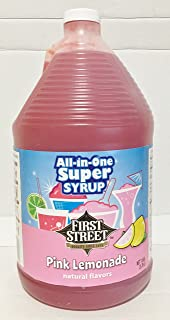 First Street All In One Super Syrup Pink Lemonade 1 Gallon, For Snow Cone Beverage Base Fountain Syrup Slush Shaved Ice