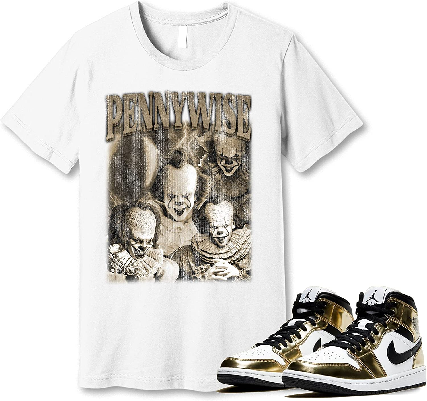 #Pennywise shop T-Shirt to Match Jordan 1 Gold Snkrs Sneaker New Orleans Mall Metallic
