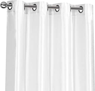 Regal Home Collections 2 Pack Semi Sheer Faux Silk Grommet Curtains - Assorted Colors (White)