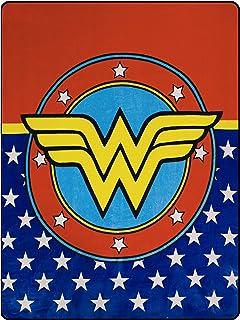 "JPI Fleece Throw Blanket - Wonder Woman Logo - Lightweight Faux Fur Fleece Blanket Large 50""x 60"" - for Beds, Sofa, Couch, Picnic, Travel, Camping"