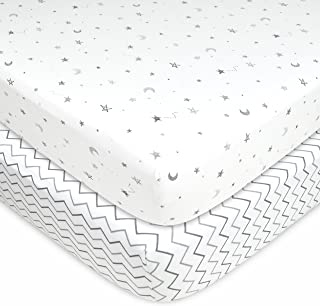 American Baby Company 2 Pack Printed 100% Natural Cotton Jersey Knit Fitted Pack N Play Playard Sheet, Grey Stars and Zigzag, Soft Breathable, for Boys and Girls