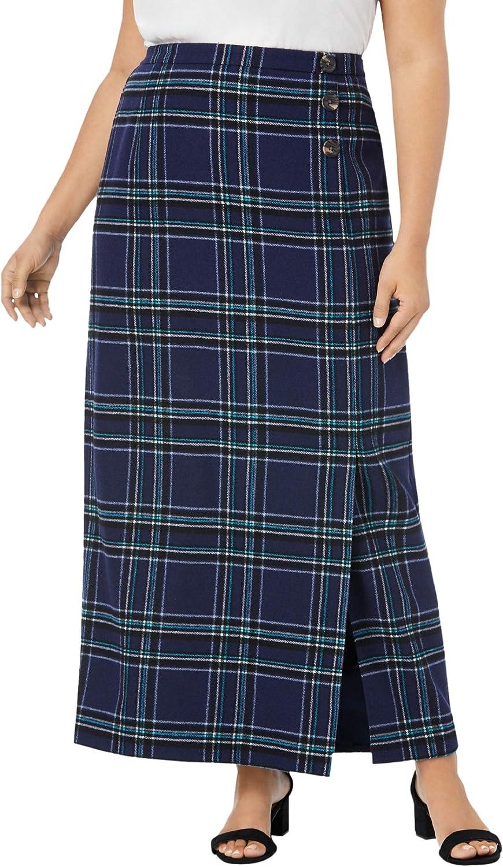 Jessica London Women's Plus Size Side-Button Skirt Wool Faux Wrap Plaid Maxi Skirt