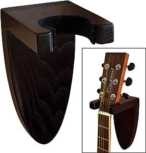 TESLYAR Guitar Holder Wall Mount Ash Wood Wooden Guitar Hanger Hook Stand Rack Guitar Hanger for Electric Classic Acoustic and Bass Guitar Musical Instruments Hardwood (Black)