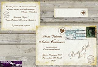 Invito Matrimonio Rustico : Amazon inviti matrimonio vintage