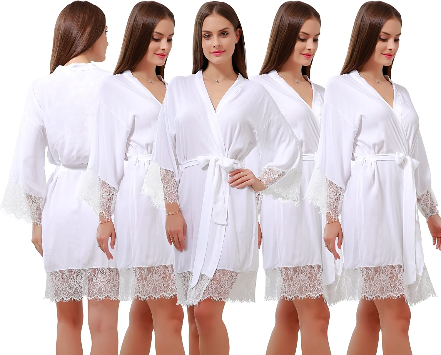 goldOath Women's Best Cotton Robes Set of 5 for Perfect Wedding Party with Lace Trim