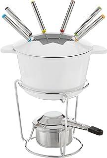 Cuisinart FP-115WS 13-Piece Cast Iron Fondue Set, White