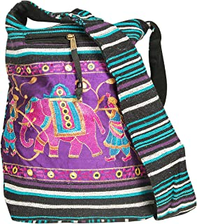 TribeAzure Elephant Hobo Shoulder Bag Cotton Sling Crossbody Handbag Boho Hippie Books Market Spacious Colorful Roomy Casual