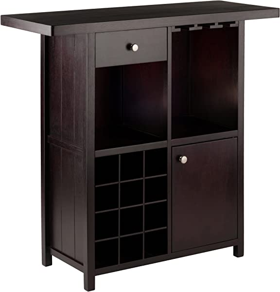 Winsome Wood 92739 Macon Bar Wine Cabinet Espresso