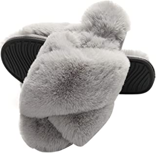 Ladies' Fluffy Faux Fur Slippers Womens Memory Foam Slippers Soft Comfy Open Toe Crossover Sliders Slippers for Girls Indo...