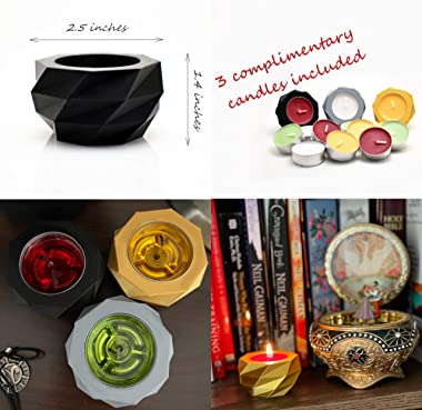 Verydise Tealight Candle Holders/Set of 3/Multiple Colors/Geometric Modern Style/Home Decor/Centerpiece/Decorative Unique Des