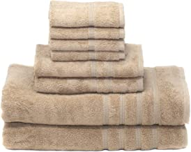 700 GSM Luxury 8-piece Oversized Bath Bundle Set - Light Taupe - Bamboo & Turkish Cotton, Resort Style, Hotel Quality - 8 pc includes 2 Bath Sheets 35X70 & 2 Hand Towels 16X30 & 4 Washcloths 13X13