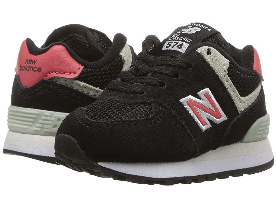 New Balance Kids IC574v1 (Infant/Toddler) (Black/Pomelo) Boys Shoes