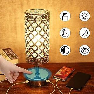間接照明 クリスタルテーブルランプ タッチセンサー式 調光できUSB充電ポート付き ナイトライト ベッドサイドライトLED電球付き おしゃれ インテリアランプ リビング/ベッドルーム室内用 Tomshine<2020年新版>