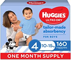 Huggies Ultra Dry Nappies Boy Size 4 (10-15kg)1 Month Supply 160 Count