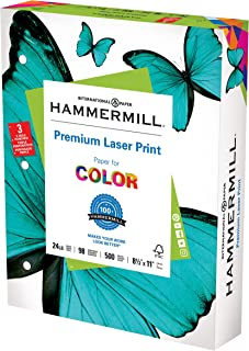 Hammermill Premium Laser Print 24lb 3HP, 8.5x 11 Copy Paper, 1 Ream, 500 Sheets, Made in USA, Sustainably Sourced From Ame...