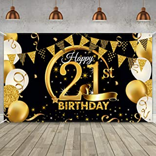 Birthday Party Decoration Extra Large Fabric Black Gold Sign Poster for Anniversary Photo Booth Backdrop Background Banne...
