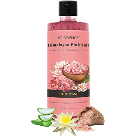 ST. D'VENCE Himalayan Pink Salt & Water Lily Body Wash | Paraben & Phthalates Free | Mineral Oil Free (500 ml)