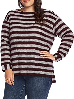 Vince Camuto Womens Plus Fuzzy Striped Pullover Sweater