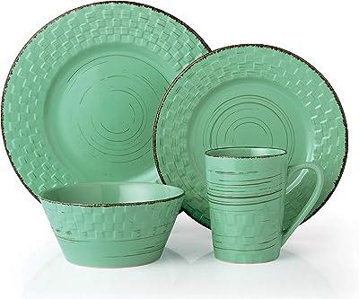 Lorren Home Trends Basket Dinnerware Set, Green