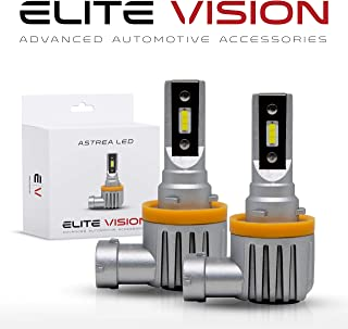 Elite Vision Astrea Slim Fit Fanless LED Kit For Bright White Headlights Bulbs, Low Beams, High Beams, Fog Lights (H11 (H8, H9, H16))