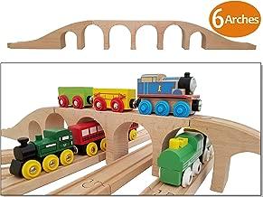Wooden Brick 6 Arches Viaduct Bridge | Deluxe 3-piece Train Track Accessories Fits Thomas, Brio, Ikea, Chuggington, Imaginarium, Melissa and Doug Railway Set | Best Gifts for Kids Toddler Boys & Girls