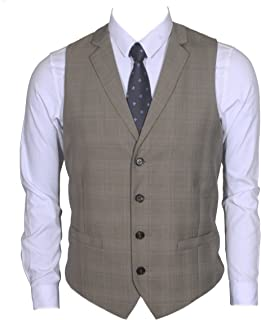 Ruth&Boaz Men's 2Pockets 4Buttons Business Tailored Collar Suit Waistcoat