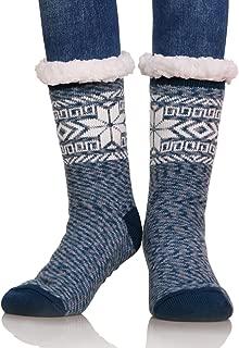 Women Snowflake Super Soft Fuzzy Fleece Lining Winter Slipper Socks