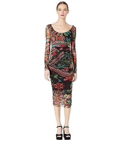 FUZZI Cross Stitch Tulle Print Long Sleeve Fitted Dress (Nero) Women