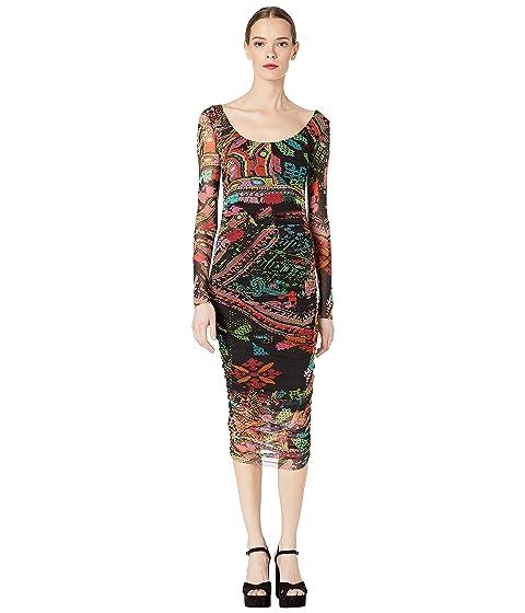 FUZZI Cross Stitch Tulle Print Long Sleeve Fitted Dress