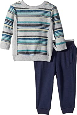 Reverse Baby French Terry Stripe Pants Set (Infant)