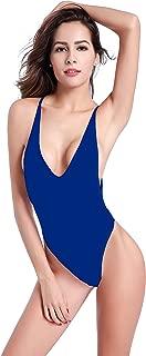 SHEKINI Women's One Piece Swimsuit V Neck High Cut Pleated Bottom Bikini Monokini One Piece Backless Thong Brazilian Swimwear Low Back Spaghetti Strap One-Piece Swimsuit Bathing Suit