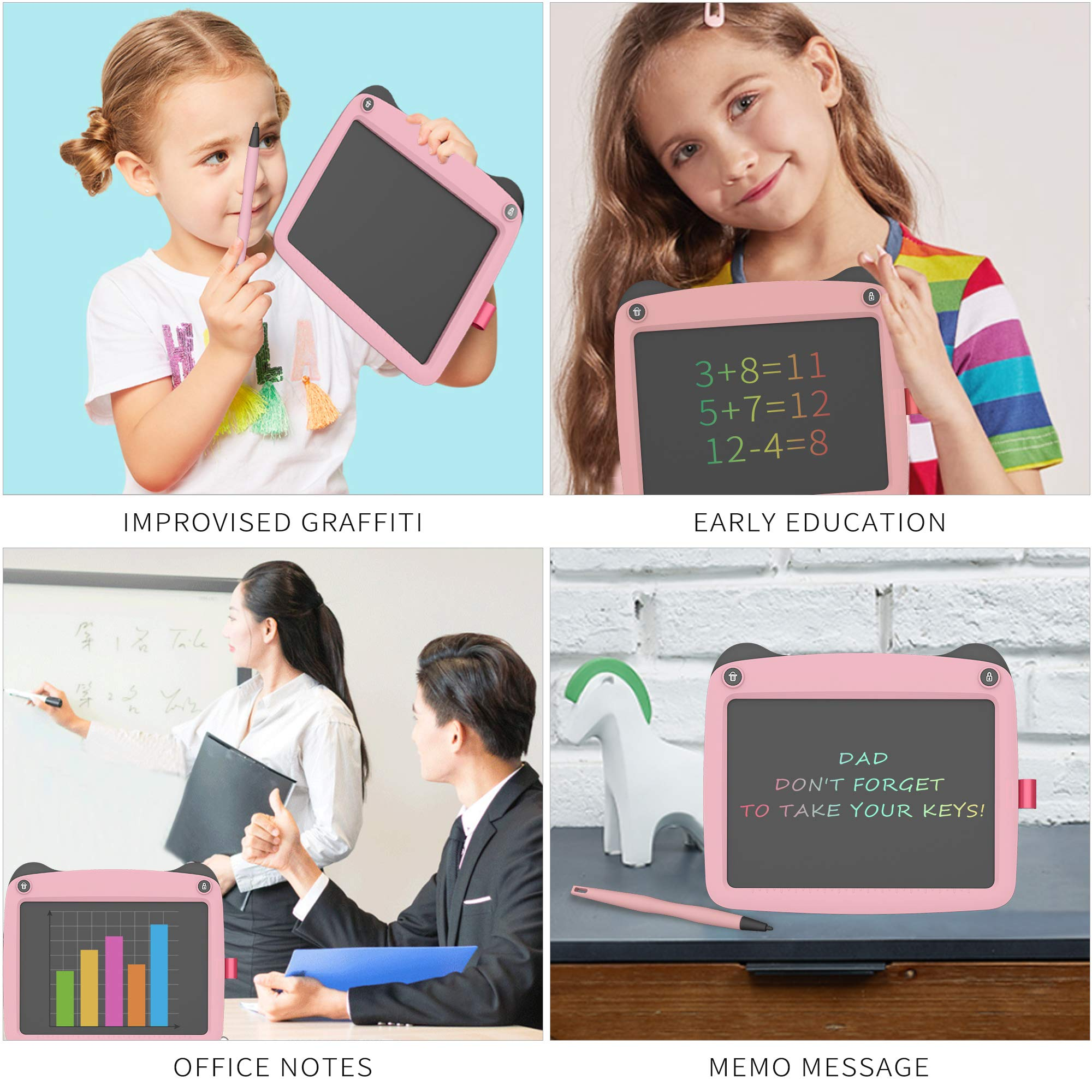 Pink FLUESTON LCD Writing Board 9 Inch Drawing Tablet for Kids e-Writer Doodle Board and Colorful Screen Scribble pad for Kids Ages 3+