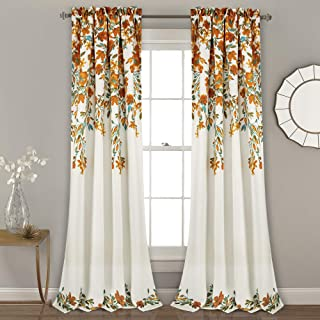 "Lush Decor Tanisha Curtains | Room Darkening Floral Vine Print Design Window Panel Set (Pair), 84"" x 52"" -Tangerine and Turquoise, Tangerine & Turquoise"