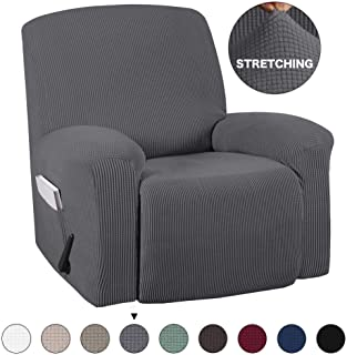 Stretch Recliner Covers With Pockets 1-Pieces Recliner Chair Slipcovers Furniture Cover for Recliner Couch Cover Spandex Stretch Slipcover Anti-Slip Slipcover Highly Fitness (Recliner, Grey)