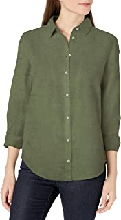 Amazon Essentials Women's Classic-Fit Long-Sleeve Linen Shirt