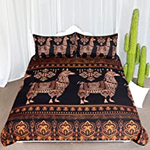 ARIGHTEX Abstract Llama Bedding 3 Piece Bohemian Exotic Alpaca Duvet Cover Tribal Animal Bedspreads for South American Themed Bedroom (Queen)