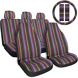 "Copap Multi-Color Baja Saddle Blanket Car Seat Cover 10pc Universal Seat Cover Full Set with 15"" Steering Wheel Cover & Seat Belt Protectors fits Car, SUV & Van"