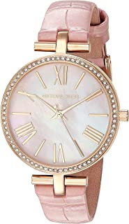 Michael Kors Women's Maci Stainless Steel Quartz Watch with Leather Strap, Gold/Pink, 14