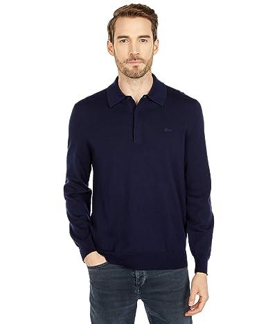 Lacoste Long Sleeve Solid Jersey 1/4 Zip Sweater (Navy Blue) Men