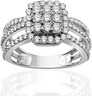Halo Jewels 1 1/4 CTTW Diamond Frame Multi-Row Split Shank Ring in Sterling Silver