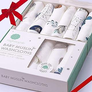 Bamboo Muslin Baby Washcloths | Organic Muslin Cotton Face Towels | Baby Wipes | Soft Bath Washcloths for Newborn with Sen...
