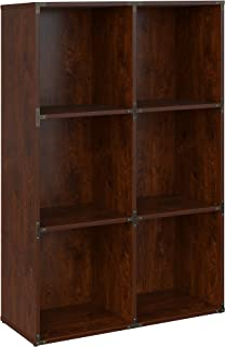 kathy ireland Home by Bush Furniture Ironworks 6 Cube Bookcase in Coastal Cherry