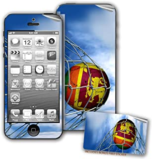 Skin / Decal for iPhone 5/5S with Flag of Sri Lanka - Soccer Ball in Net - Durable and long lasting