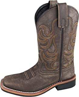 Smoky Children's Leroy Embroidered Vintage Western Cowboy Boots - Chocolate