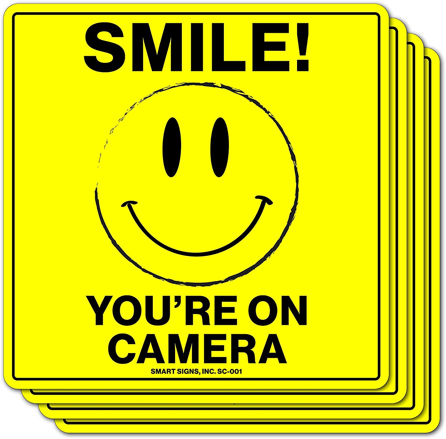 (4 Pack) Smile You're On Camera Video Surveillance Sticker, 4