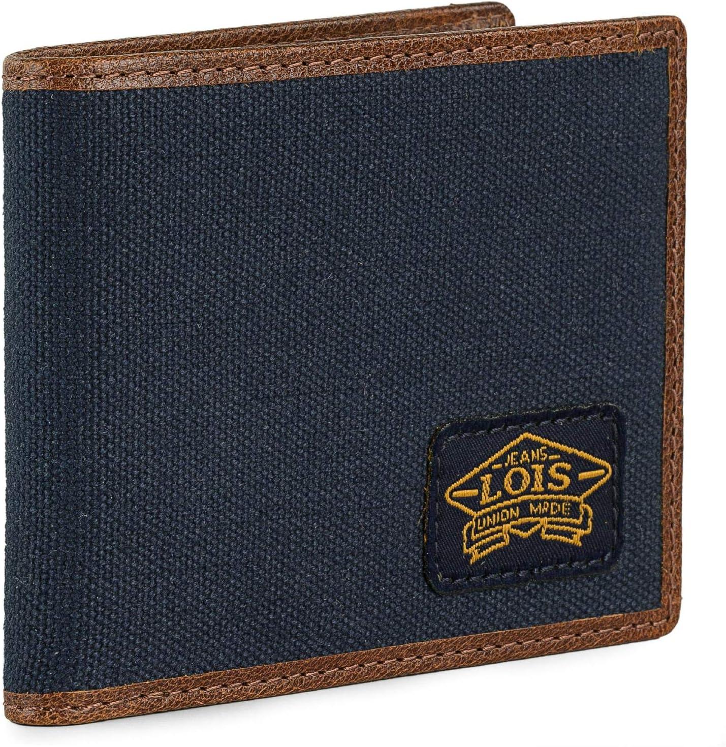 Lois - Cartera de Lona/Piel Genuina para Hombre Delgada y Bien compartimentada para Llevar Monedas, Billetes Tarjetas. Protección RFID. 203801, Color Marino