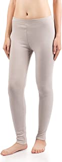 David Archy Women's Fleece Lined Low Rise Cotton Baselayer Pant Winter Warm Wicking Leggings Thermal Bottom