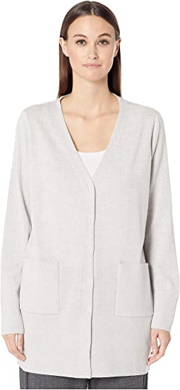 Fine Merino Jersey V-Neck Cardigan with Snaps
