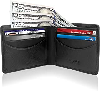 Mens Bifold Multi Card Wallet, Thin, Slim RFID Protection Leather Credit Card Holder